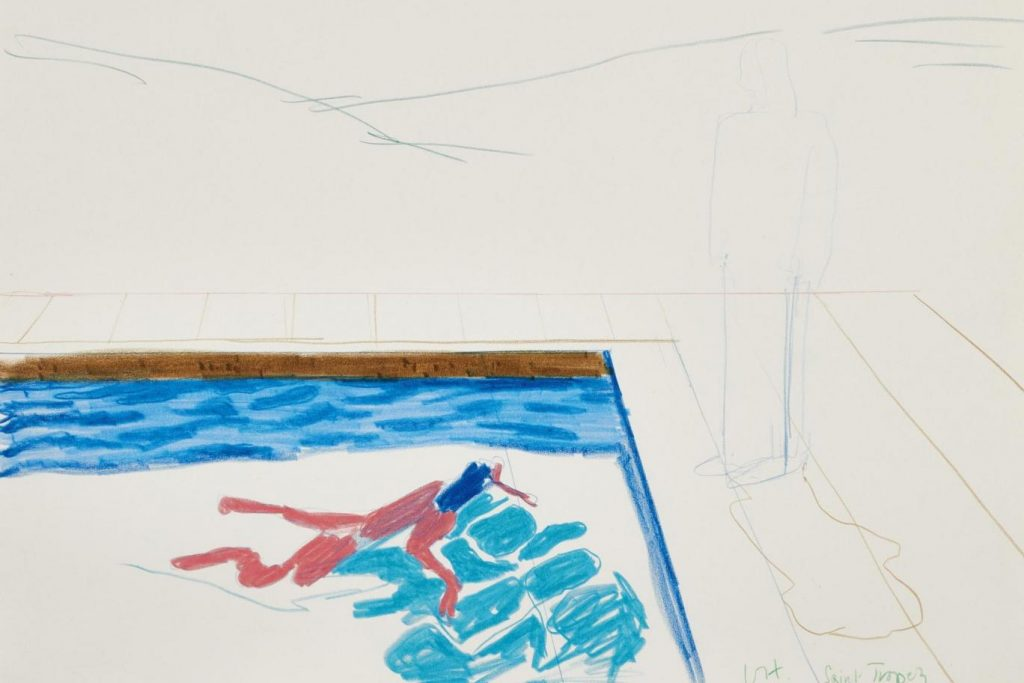 david-hockney swimming pool sketch