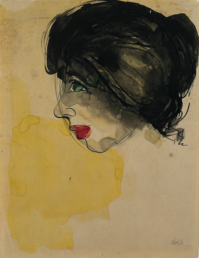 Head in Profile, 1919; Emil Nolde (German, 1867-1956); Watercolor and India ink on tan wove paper